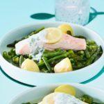 Roasted asparagus & pea salad