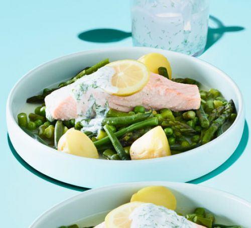 Roasted asparagus & pea salad Recipe