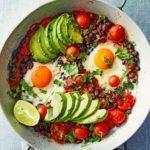Avocado & black bean eggs