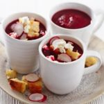 Beetroot soup with feta, radish & croutons