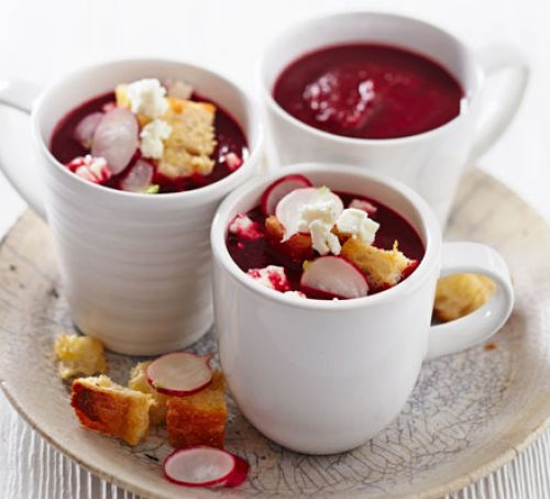 Beetroot soup with feta, radish & croutons Recipe