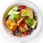 Black bean, tofu & avocado rice bowl