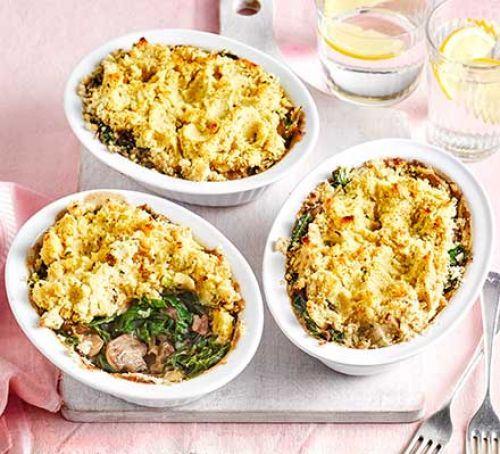 Butter bean, mushroom & bacon pot pies Recipe