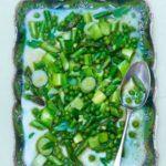 Butter-poached asparagus, leeks & peas