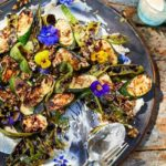 Charred courgettes, runner beans & ricotta