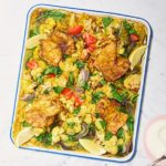 Curried chicken & baked dhal