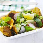 Chickpea patties with carrot & raisin salad