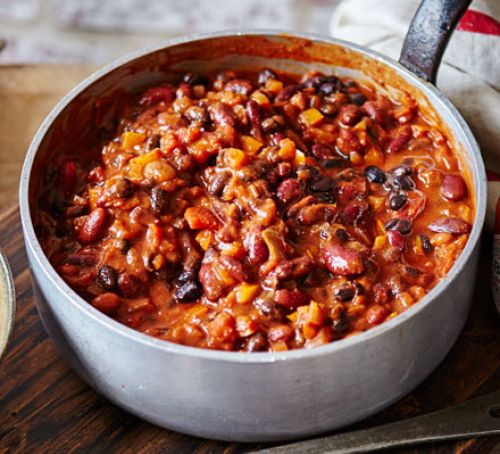 Double bean & roasted pepper chilli Recipe