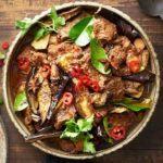 Chinese beef & aubergine hotpot