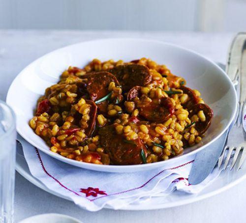 Chorizo & rosemary pearl barley risotto Recipe