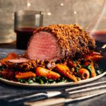 Ale-glazed beef fillet with a crispy onion crust