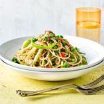 Crab & lemon spaghetti with peas