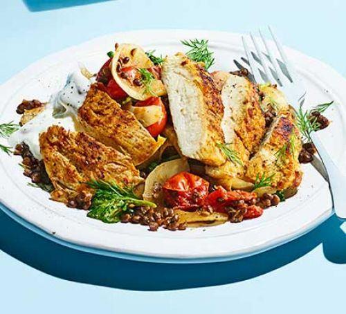 Griddled vegetables with melting aubergines Recipe