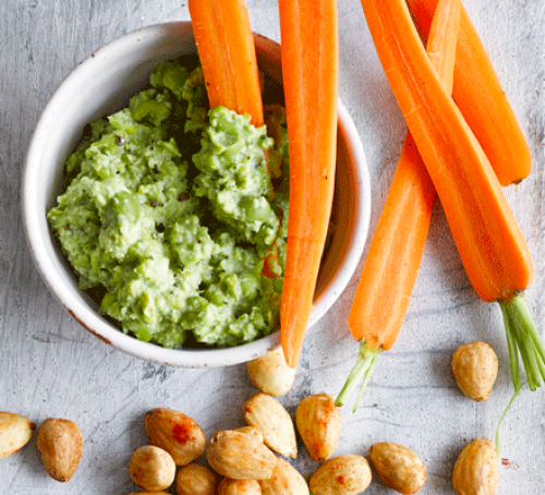 Crushed pea & mint dip with carrot sticks
