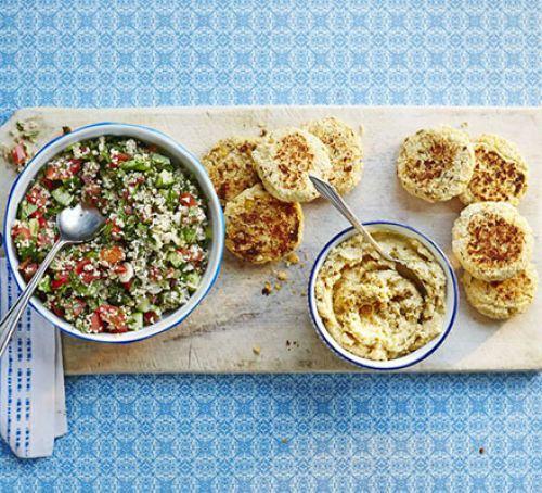 Falafels with hummus & tabbouleh Recipe