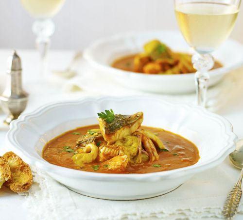 Fish stew with roast garlic & saffron Recipe