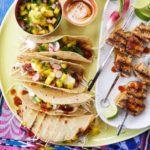 Fish tacos with green jalapeno salsa & chilli cream