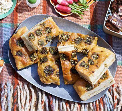 Pesto focaccia sandwich Recipe