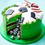 Surprise pinata football cake