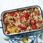 Crunchy baked tomato & onion gratin