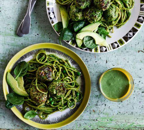 Green spaghetti & meatballs Recipe