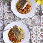 Hake with stewed peppers