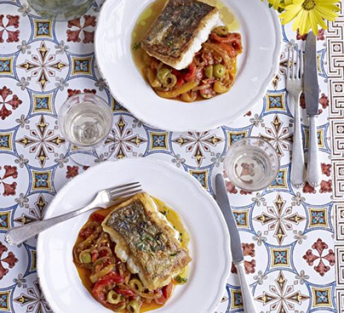 Hake with stewed peppers Recipe
