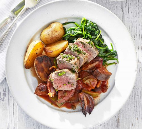 Herby lamb fillet with caponata Recipe