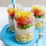 Layered rainbow salad pots