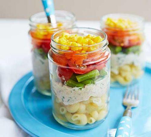 Layered rainbow salad pots Recipe