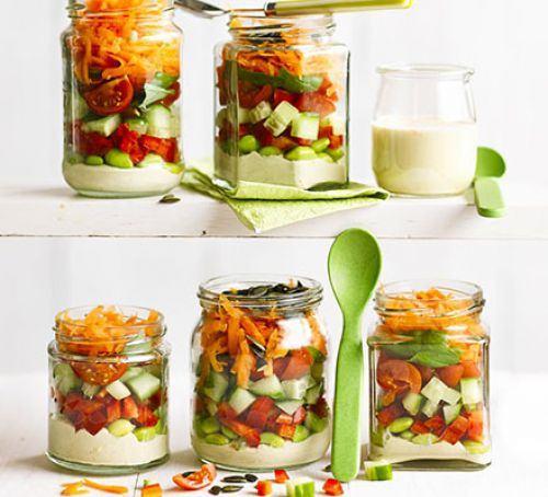 Stripy hummus salad jars Recipe