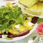 beetroot mango salad with soft goats cheese