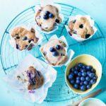 Maple-glazed blueberry muffins