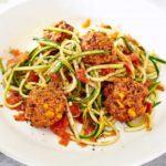 Veggie meatballs with tomato courgetti