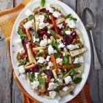 Minty roast veg & hummus salad
