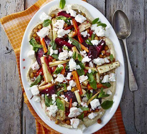 Minty roast veg & hummus salad Recipe