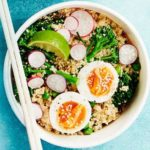 Miso broccoli, egg & quinoa salad