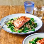 Miso salmon with ginger noodles