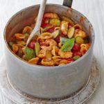 Creamy tomato, courgette & prawn pasta