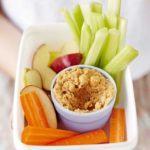 Peanut hummus with fruit & veg sticks