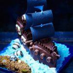 Pirate ship and treasure island cake