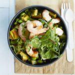 Prawn, avocado & soya bean salad