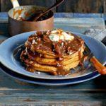 Pumpkin pancakes with salted pecan butterscotch