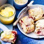 Raspberry & coconut scones