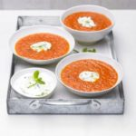 Spicy pepper & tomato soup with cucumber yogurt