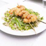 Miso prawn skewers with veggie rice salad