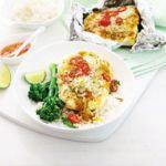 Curry coconut fish parcels