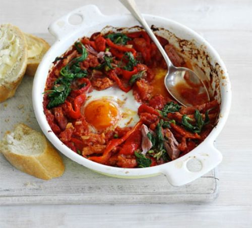 Baked eggs with ham & spinach Recipe