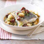 Pan-fried hake, white bean & chorizo broth