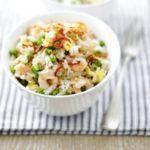 Egg fried rice with prawns & peas